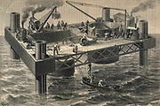 Sinking caisson for one of piers of the second railway bridge over the River Tay, Scotland, 1883