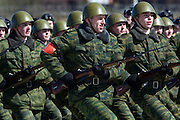 Albina, Russia, 22/04/2008..Russian soldiers with World War Two weapons practice for the forthcoming 63rd Victory Day celebrations on May 9, marking the end of the Second World War, referred to in Russia as the Great Patriotic War.