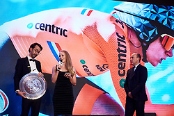 Gracie Elvin (AUS) receives an award on van Vleuten's behalf for her victory at the time trial in Innsbruck at The UCI Cycling Gala 2018 in Guilin, China on October 21, 2018. Photo by Sean Robinson/velofocus.com