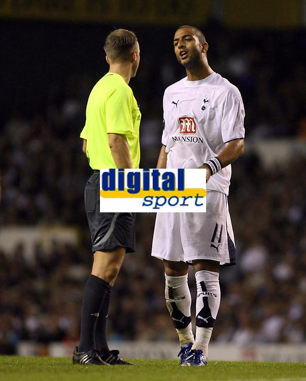 Photo: Chris Ratcliffe.<br /> Tottenham Hotspur v Slavia Prague. UEFA Cup. 28/09/2006.<br /> Mido of Spurs argues with referee T Skjerven.