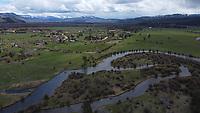 Aerial photograph of Fish Creek near Wilson, Wyoming