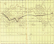 Map of the Voyage from the book ' Around the world in eighty days ' by Jules Verne (1828-1905) Translated by Geo. M. Towle, Published in Boston by James. R. Osgood & Co. 1873 First US Edition
