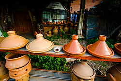 Tagines and other pottery for sale at the workshop of the potter.  High Atlas, Morocco, North Africa<br /> <br /> <br /> (c) Andrew Wilson | Edinburgh Elite media