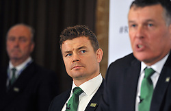 Former Ireland captain Brian O'Driscoll (centre) listens as IRFU Chief Executive Philip Browne, speaks during the 2023 Rugby World Cup host candidates presentations at the Royal Garden Hotel in London, as Ireland bid to host the event against France and South Africa.