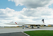 British Airways Concord aeroplane on the apron by the VIP Suite at Heathrow Airport in London, UK