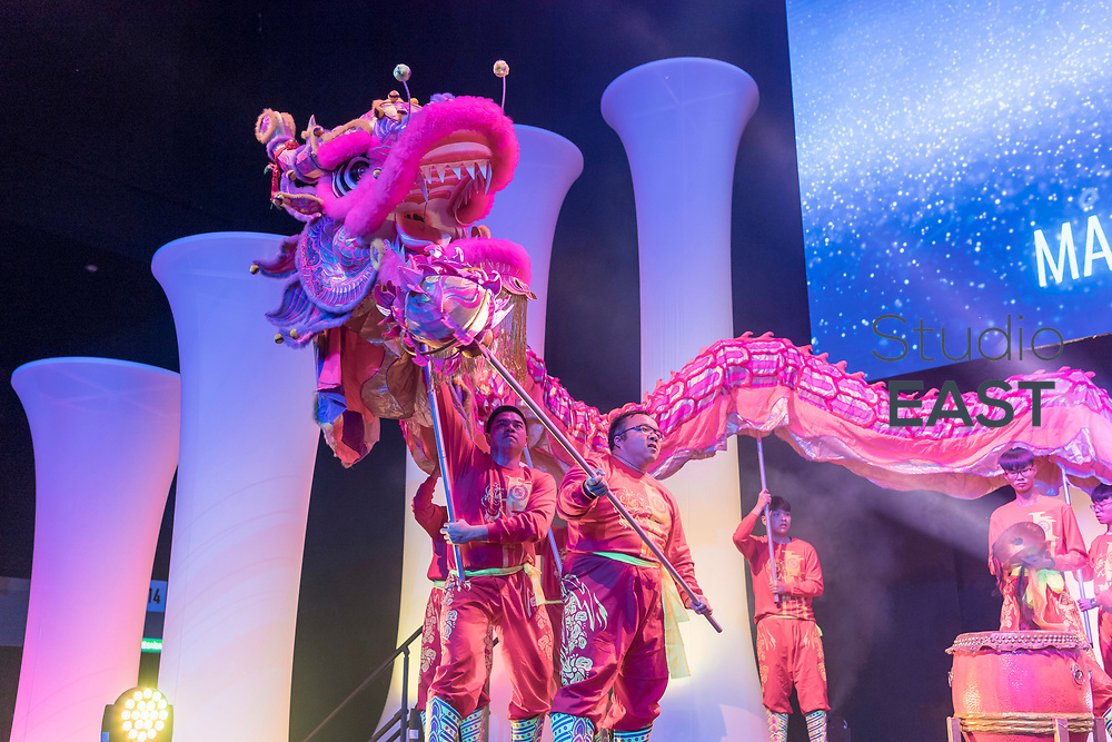Lion dance during the FutureNet World Convention in Studio City Event Center, Macau, China, on 25 November 2017. Photo by Graham Uden/Studio EAST