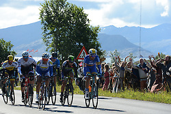 August 11, 2016 - Rognan, Norway - Norwegian supporters in viking costumes during the opening stage of the Arctic Race of Norway from Bodo to Rognan..On Thursday, 11 August 2016, in Rognan, Norway. (Credit Image: © Artur Widak/NurPhoto via ZUMA Press)