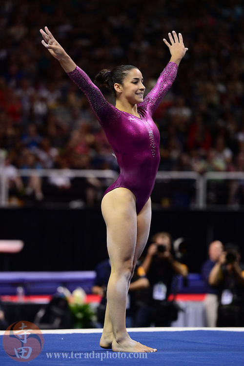 June 29, 2012; San Jose, CA, USA; Aly Raisman performs on the floor exercise during the 2012 USA Gymnastics Olympic Team Trials at HP Pavilion.