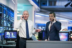 Jim White at the Sky Sports TV studio for the transfer Deadline Day show. With Bryan Swanson..© Michael Schofield...