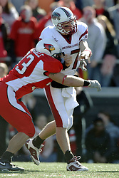14 October 2006: Justin Martindale arrives a second too late to stop a pass by Nick Hill. The 6th largest crowd at Hancock Stadium came to watch a game that put 8th ranked Southern Illinois Salukis against 5th ranked Illinois State University Redbirds.  The Redbirds stole the show for a Homecoming win by a score of 37 - 10. Competition commenced at Hancock Stadium on the campus of Illinois State University in Normal Illinois.<br />