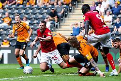Tommy Rowe of Bristol City is brought down and award a penalty - Mandatory by-line: Robbie Stephenson/JMP - 24/08/2019 - FOOTBALL - KCOM Stadium - Hull, England - Hull City v Bristol City - Sky Bet Championship
