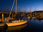 Sailboats and Yachts at Dusk in the Dana Point Harbor