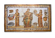 5th century Roman mosaic panel of the ceremonial dressing of a lady. The lady was of the landed gentry from inland Carthage. She is sitting on a high backed armchair and is surrounded by two ornatrix, maids, whoa re helping her to apply make up and style her hair. Items related to bathing and grooming are depicted on the background of the mosaic. The maid hold a mirror for the lady in which we see her reflection The scene is an allegory of the myth of 'Venus at her toilet'.<br /> <br /> From the floor of the changing room of the private baths of the Sidi Ghraib villa, Borj El Amre region, Tunisia. The Bardo Museum, Tunis, Tunisia. White background .<br /> <br /> If you prefer to buy from our ALAMY PHOTO LIBRARY  Collection visit : https://www.alamy.com/portfolio/paul-williams-funkystock/roman-mosaic.html - Type -   Bardo    - into the LOWER SEARCH WITHIN GALLERY box. Refine search by adding background colour, place, museum etc<br /> <br /> Visit our ROMAN MOSAIC PHOTO COLLECTIONS for more photos to download  as wall art prints https://funkystock.photoshelter.com/gallery-collection/Roman-Mosaics-Art-Pictures-Images/C0000LcfNel7FpLI