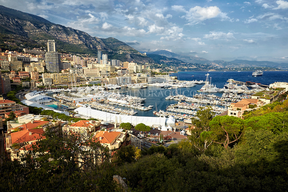 View of Monte Carlo, the Port of Hercules, and the Mediterranean Sea taken from the Princes Palace, Monaco France.