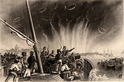 Crimean (Russo-Turkish) War 1853-1856.  The British Royal Navy bombarded Sweaborg on the Gulf of Finland from offshore for 3 1/2 days, destroying the Russian dockyards.  Engraving c1860.