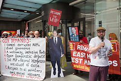 Andrew Feinstein, former African National Congress (ANC) MP, addresses supporters of left-wing Labour Party groups at a protest lobby outside the party's headquarters on 20th July 2021 in London, United Kingdom. The lobby was organised to coincide with a Labour Party National Executive Committee meeting during which it was asked to proscribe four organisations, Resist, Labour Against the Witchhunt, Labour In Exile and Socialist Appeal, members of which could then be automatically expelled from the Labour Party.