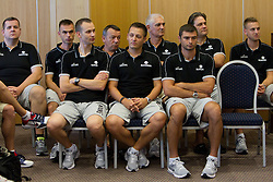 Jernej Bobic, Gasper Suhadolnik, Gasper Potocnik, Teo Djekic, Aleksander Sekulic, dr. Slobodan Macura, Tomaz Brinec, dr. Branko Cveticanin and Matjaz Vezjak during media day at training camp of Slovenian National Basketball team for Eurobasket Lithuania 2011, on July 19, 2011, in Arena Ljudski vrt, Ptuj, Slovenia.  (Photo by Vid Ponikvar / Sportida)