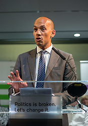 © Licensed to London News Pictures. 23/04/2019. Bristol, UK. CHUKA UMUNNA MP at theChange UK – The Independent Group holding their European election campaign launch at We The Curious in Bristol's Millennium Square. Photo credit: Simon Chapman/LNP