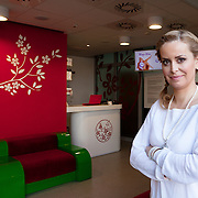 """Warsaw, Poland, March 6, 2013. Izabela Makosz, Owner of Time For Wax Salons in Warsaw with a body care cosmetics line under its trademark. Time For Wax is the first studio in Poland specializing in rapid waxing. Ms Makosz is the winner of the """"Sukces Pisany Szminką""""  Businesswoman of the Year 2009 competition."""