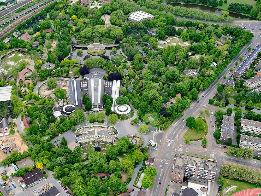 Nederland, Zuid-Holland, Rotterdam, 14-05-2020; Blijdorpse Polder, Diergaarde Blijdorp met Biothopia Rivierahal. De dierentuin is gesloten ivm met de Corona maatregelen.<br /> Blijdorp Zoo in the North of Rotterdam.The zoo is closed due to the Corona measures.<br /> <br /> luchtfoto (toeslag op standard tarieven);<br /> aerial photo (additional fee required)<br /> copyright © 2020 foto/photo Siebe Swart