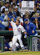 CHICAGO, IL - OCTOBER 12:  Kyle Schwarber #12 of the Chicago Cubs acknowledges the fans after hitting a home run in the seventh inning during Game 3 of the NLDS against the St. Louis Cardinals at Wrigley Field on Monday, October 12, 2015 in Chicago , Illinois. (Photo by Ron Vesely/MLB Photos via Getty Images) *** Local Caption *** Kyle Schwarber