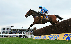 Un De Sceaux ridden by Ruby Walsh on the way to winning the Ryanair Chase during St Patrick's Thursday of the 2017 Cheltenham Festival at Cheltenham Racecourse.