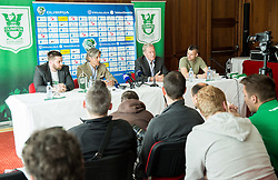 Jure Urbanc, Rodolfo Vanoli, Milan Mandaric, Aljosa Vekic during presentation of a new head coach of NK Olimpija, on April 22, 2016 in Austria Trend Hotel, Ljubljana, Slovenia. Photo by Vid Ponikvar / Sportida