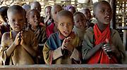 Maasai schoolchildren in their classroom at the local school.