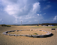 AA05853-01...NORTH CAROLINA - Old foundation of the Cape Hatteras Lighthouse and new location inland from the coast on the Outer Banks in Cape Hatteras National Seashore.