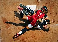 USA softball action Athens Olympic games. -- Photo by Jack Gruber, USA TODAY