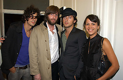 Left to right, ANTHONY ROSSOMANDO, JAMES MALORD, CARL BARAT from the group 'The Dirty Pretty Things' and LISA MOORSIH at a party to celebrate the opening of PPQ Mayfair at 47 Conduit Street, London W1 on 18th September 2006.<br />