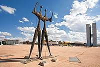 Square of the Three Powers with their Os Candangos  statue in brasila capital city of brazil