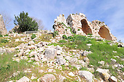 Israel, Western Galilee, The remains of the 12th century Crusader fortress of Yehiam (Gidin)