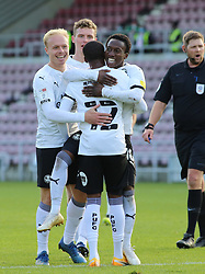 Reece Brown of Peterborough United is congratulated by team-mates after scoring his goal - Mandatory by-line: Joe Dent/JMP - 10/10/2020 - FOOTBALL - PTS Academy Stadium - Northampton, England - Northampton Town v Peterborough United - Sky Bet League One