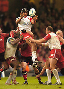 Cardiff, WALES.  Biarritz's, Thierry Dusautoir, collects the line out ball, during, 2006 Heineken Cup Final,  Millennium Stadium,  between Biarritz Olympique and Munster,  20.05.2006. © Peter Spurrier/Intersport-images.com,  / Mobile +44 [0] 7973 819 551 / email images@intersport-images.com.   [Mandatory Credit, Peter Spurier/ Intersport Images].14.05.2006   [Mandatory Credit, Peter Spurier/ Intersport Images].