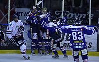 Ishockey , Get - ligaen ,<br /> Kvartfinale 4/7<br /> 10.03.2012 <br /> Sparta Amfi<br /> Sparta Sarpsborg v Lillehammer I.K <br /> Foto:Dagfinn Limoseth  -  Digitalsport<br /> Marcus Olsson , Sparta jubler etter sin scoring,Brandon Buck gratulerer.