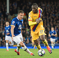 Crystal Palace's Christian Benteke shields the ball from Everton's Phil Jagielka<br /> <br /> Photographer Terry Donnelly/CameraSport<br /> <br /> The Premier League - Everton v Crystal Palace - Friday 30th September 2016 - Goodison Park - Liverpool<br /> <br /> World Copyright © 2016 CameraSport. All rights reserved. 43 Linden Ave. Countesthorpe. Leicester. England. LE8 5PG - Tel: +44 (0) 116 277 4147 - admin@camerasport.com - www.camerasport.com