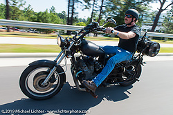 """The coast-to-coast """"Stampeders"""" take a ride Saturday morning during the Smokeout. Rockingham, NC. USA. June 20, 2015.  Photography ©2015 Michael Lichter."""