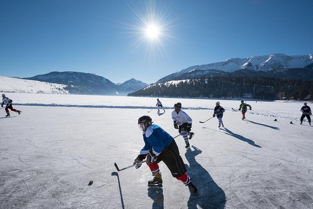 Hockey game on Wallowa Lake, Oregon.