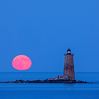 Whaleback Lighthouse with buck full moon in southern Maine near the New Hampshire border. This historic New England lighthouse is located near Portsmouth, NH and is also known as Whaleback Light or Whaleback Ledge Lighthouse. A rising full moon always attracts a lot of nature lovers and photographers alike and there was no difference last night. Originally, I was inspired by the tall and old lighthouse structure out in the ocean that tells the story of bracing Mother Nature for a century and more. After setting up tripod and camera I patiently waited for the moonrise and when it finally arrived I photographed away to ensure I captured my vision of this unforgettable natural phenomenal.   <br /> <br /> Historic New England and Whaleback Lighthouse photos are available as museum quality photography prints, canvas prints, acrylic prints, wood prints or metal prints. Fine art prints may be framed and matted to the individual liking and decorating needs:<br /> <br /> https://juergen-roth.pixels.com/featured/castle-island-view-of-whaleback-lighthouse-and-full-moon-juergen-roth.html<br /> <br /> Good light and happy photo making!<br /> <br /> My best,<br /> <br /> Juergen<br /> Prints: http://www.rothgalleries.com<br /> Photo Blog: http://whereintheworldisjuergen.blogspot.com<br /> Instagram: https://www.instagram.com/rothgalleries<br /> Twitter: https://twitter.com/naturefineart<br /> Facebook: https://www.facebook.com/naturefineart
