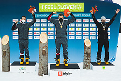 Andreas Prommegger (AUT) 2nd, Benjamin Karl (AUT) 1st, Dmitry Loginov (RSF) during medal ceremony after parallel slalom FIS Snowboard Alpine World Championships 2021 on March 2nd 2021 on Rogla, Slovenia. Photo by Grega Valancic / Sportida