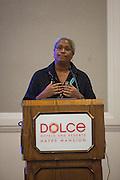 Rockwood Leadership Program President Akaya Windwood presents during the Service Employees International Union BOLD Retreat at Dolce Hayes Mansion in San Jose, California, on November 21, 2013. (Stan Olszewski/SOSKIphoto)