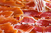 In the restaurant. Dry cured ham. Herdade da Malhadinha Nova, Alentejo, Portugal