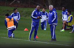© Licensed to London News Pictures. 22/12/2015. London, UK. Chelsea football club interim manager Guus Hiddink (3R)takes a training session at the club's Cobham ground. Photo credit: Peter Macdiarmid/LNP
