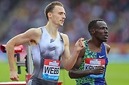 Jamie WEBB of Great Britain & NI and Alfred KIPKETER of Kenya in the Men's 800m during the Muller Grand Prix at Alexander Stadium, Birmingham, United Kingdom on 18 August 2019.