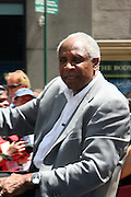 Frank Robinson at the Major League Baseball All-Stars and 49 Hall of Famers ride up Sixth Avenue in All Star-Game Red Carpet Parade Presented by Chevy on July 15, 2008