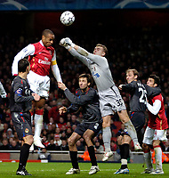 Photo: Ed Godden.<br /> Arsenal v CSKA Moscow. UEFA Champions League, Group G. 01/11/2006. Arsenal's Thierry Henry has his header punched away by keeper Igor Akinfeev.