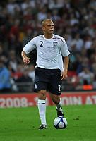 Photo: Tony Oudot/Richard Lane Photography.  England v Czech Republic. International match. 20/08/2008. <br /> Wes Brown of England .