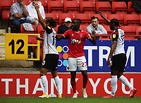 LONDON, ENGLAND - SEPTEMBER 25: Pape Souaré of Charlton Athletic is surrounded by Marcus Harness (left) and Mahlon Romeo (right) of Portsmouth during the Sky Bet League One match between Charlton Athletic and Portsmouth at The Valley on September 25, 2021 in London, England. (Photo by Ben Peters/MB Media)