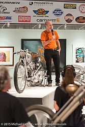 Michael Lichter introduces participating builders at the Naked Truth exhibition's industry party at the Buffalo Chip gallery during the 75th Annual Sturgis Black Hills Motorcycle Rally.  SD, USA.  August 5, 2015.  Photography ©2015 Michael Lichter.